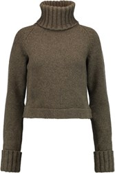 Antonio Berardi Wool And Cashmere Blend Turtleneck Sweater Army Green