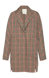 Marco De Vincenzo Fringed Applique Tartan Coat Plaid