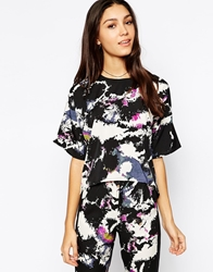Influence Floral Print Boxy Top With Zip Back Multi