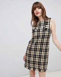 Darling Houndstooth Shift Dress Black Yellow