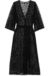 Le Petit Trou Estime Flocked Stretch Tulle Robe Black