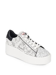 Ash Cult Leather Platform Lace Up Sneakers White Black