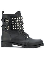 Loriblu Studded Ankle Boots Calf Leather Leather Rubber 40.5 Black
