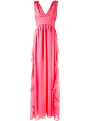 Msgm V Neck Gown Pink Purple