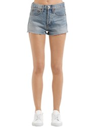 Re Done The Short Cotton Denim Shorts Blue