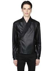 Diesel Black Gold Smooth Leather Kimono Style Jacket