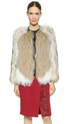 J. Mendel Collarless Fur Jacket White Rustic Taupe