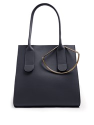 Roksanda Ilincic Square Leather Tote Navy