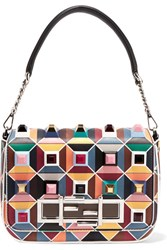Fendi Baguette Embellished Leather Shoulder Bag Teal