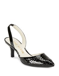 Anne Klein Fabrizia Perforated Patent Leather Slingback Pumps Black