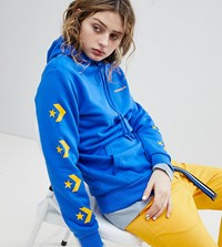 Converse Star Chevron Graphic Pullover Hoodie In Blue