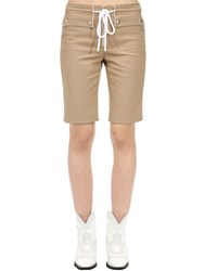 Courreges Cotton Biker Shorts W Drawstring Beige