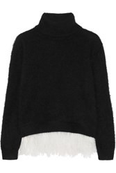 N 21 No. Feather Trimmed Angora Blend Turtleneck Sweater Black