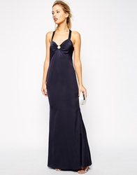 Jarlo Electra Backless Maxi Dress With Metal Ring Detail Sapphire