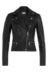 Karl Lagerfeld Leather Biker Jacket Black