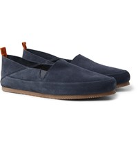 Mulo Collapsible Heel Suede Loafers Blue