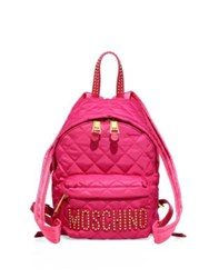 Love Moschino Studded Logo Patch Quilted Backpack Violet