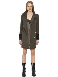 Ermanno Scervino Wool Cashmere Cloth And Faux Fur Coat