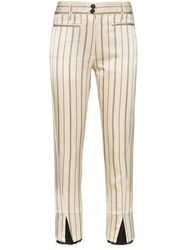 Ann Demeulemeester Striped Cropped Trousers Neutrals