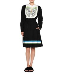 Tomas Maier Floral Bib Long Sleeve Belted Dress Black White Black White