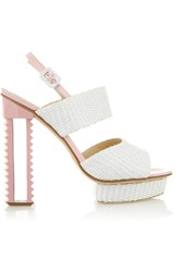 Aperlai Straw And Patent Leather Sandals White