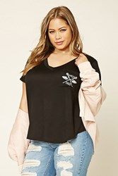 Forever 21 Plus Size Wild Free Pocket Tee Black