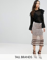Fashion Union Tall Floral Printed Midi Skirt With Lace Trim Multi