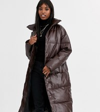 Asos Design Tall Longline Leather Look Puffer Coat In Chocolate Brown