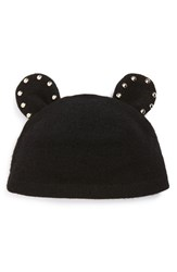 Women's Helene Berman Studded Ears Wool Blend Cap Black