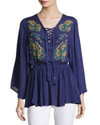 Jach's Girlfriend Plunge Lace Up Embroidered Peasant Top Navy