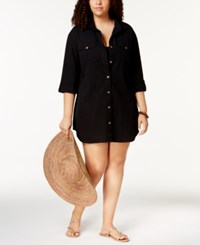 Dotti Plus Size Cotton Cabana Life Shirtdress Cover Up Women's Swimsuit Black