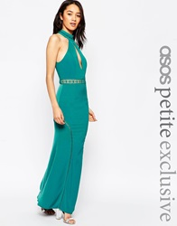 Jarlo Petite Halter Neck Maxi Dress With Front Keyhole Detail Teal
