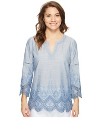 Nydj Petite Callie Embroidered Tunic Loire Valley Women's Blouse Blue
