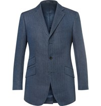 Cordings Blue Kerry Slim Fit Herringbone Linen Blazer Navy