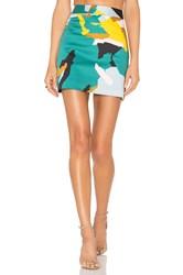 Milly Camo Print Modern Mini Skirt Teal