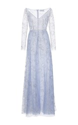 Luisa Beccaria Long Sleeve Tulle Lurex Pois Maxi Dress Light Blue