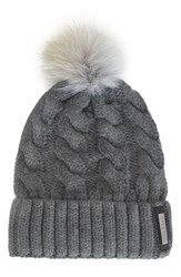 Soia And Kyo Women's Cable Knit Beanie With Genuine Coyote Fur Pom