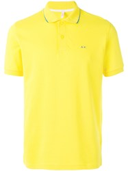 Sun 68 Contrast Logo Polo Shirt Men Cotton Spandex Elastane Xxl Yellow Orange