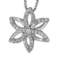 Jools By Jenny Brown Sterling Silver Pave Flower Pendant Rhodium