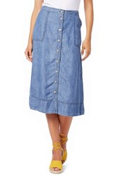 Women's Michael Stars Chambray Button Down A Line Midi Skirt