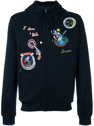 Dolce And Gabbana Space Patch Hoodie Blue