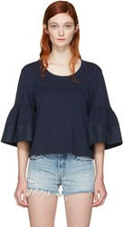 See By Chloe Navy Bell Sleeve T Shirt