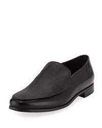 Giorgio Armani Grained And Smooth Leather Venetian Loafer Black