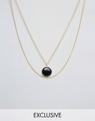 Designb London Black Stone Double Chain Locket Necklace In Gold Gold