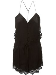 Iro Cut Out Detailing Sheer Playsuit Black