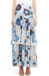 Chloe Women's Floral Print Tiered Maxi Skirt