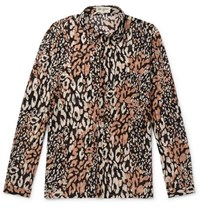Saint Laurent Leopard Print Cotton And Silk Blend Shirt Multi