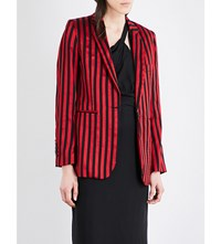 Ann Demeulemeester Wainwright Striped Wool And Cotton Blend Blazer Ruby Black