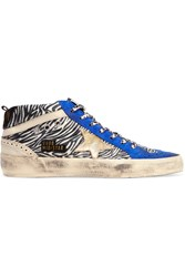 Golden Goose Distressed Calf Hair Suede And Leather Sneakers Animal Print