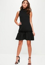Missguided Black High Neck Sleeveless Frill Hem Shift Dress